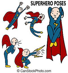 セット, superhero, 図画