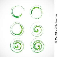 セット, swirly, 緑, 波