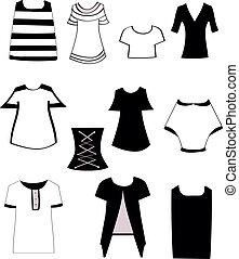セット, tシャツ, 女性