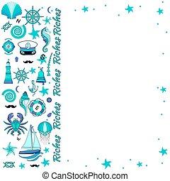セット, text., 場所, 海洋, lighthouse., 装飾, 抽象的, 海事, 貝殻, 車輪, 背景, illustration., ロット, ベクトル, ステアリング, 要素, seahorse