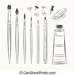 セット, tools., 芸術, ベクトル