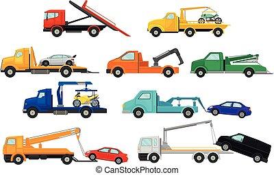 セット, trucks., 牽引, イラスト, バックグラウンド。, ベクトル, イメージ, 白