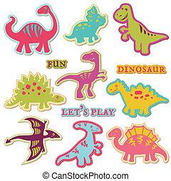 セット, ?ute, -, 恐竜, ベクトル, デザイン, スクラップブック, 要素