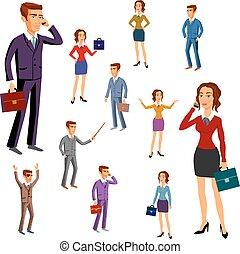 セット, vector., オフィス, team., 特徴, design., 人, 女性