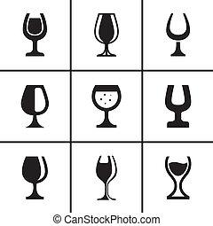 セット, wineglass, アイコン