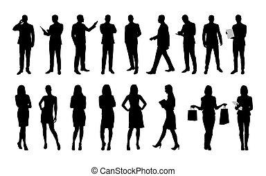 セット, women., ビジネス 人々, 労働者, 男性, 大きい, シルエット, ベクトル, スーツ, ∥あるいは∥, 衣服