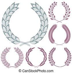 セット, wreaths., guilloche