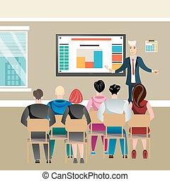 セミナー, オフィス, ビジネス 人々