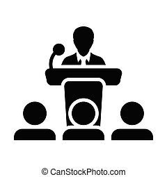 セミナー, マイクロフォン, イラスト, ベクトル, pictogram, glyph, アイコン, 演壇, シンボル, マレ, 人, スピーチ, 公衆