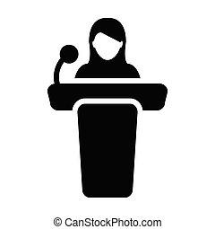 セミナー, マイクロフォン, イラスト, pictogram, ベクトル, 女性, glyph, アイコン, 演壇, シンボル, 人, スピーチ, 公衆