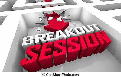 セミナー, breakout, ワークショップ, 会議, セッション, グループ, イラスト, チーム, 3d