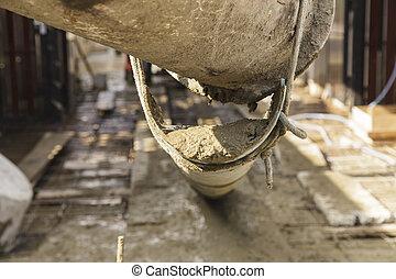 セメントトラック, ある, たたきつけるセメント, に, a, 基礎
