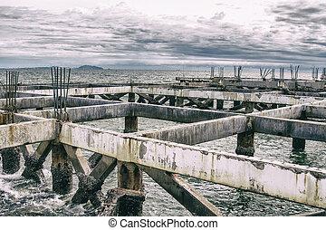 セメント, 柱, sea.
