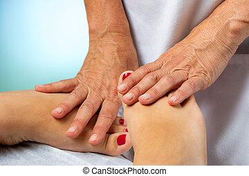 セラピスト, 女性, 処理, feet.