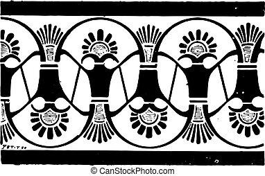 セラミックス, ペイントされた, 型, -, ギリシャ語, 装飾, engraving.
