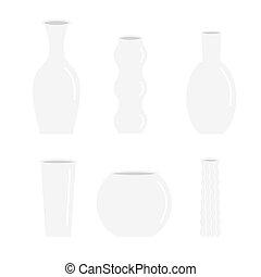 セラミック, ガラス, 陶器, アイコン, 装飾, 隔離された, セット, つぼ, デザイン, 花, 平ら