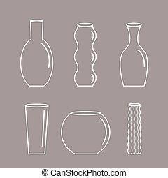セラミック, 平ら, アイコン, 花, 背景, アウトライン, セット, 灰色, つぼ, 装飾, デザイン, 陶器, ガラス