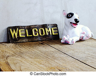 セラミック, 木製である, 歓迎, 犬, 印, 背景
