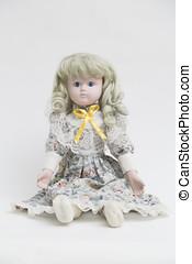 セラミック, 磁器製品, ハンドメイド, 人形, ∥で∥, 長い間, 白髪, そして, 花のドレス
