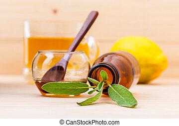 セージ, レモン, 新鮮なカップ, 木製である, 草, お茶, バックグラウンド。