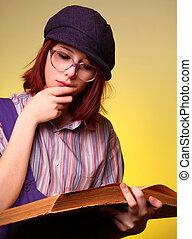 セージ, 女の子, ファッション, 古い, 本