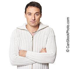 セーター, 隔離された, 白, 人, 身に着けていること