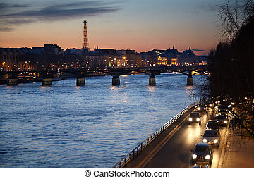 セーヌ, 芸術, evening., eiffel タワー, 橋, 光景