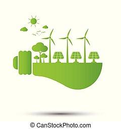 セービング, イラスト, 概念, エコロジー, 世界, 電球, ライト, ベクトル, 緑, エネルギー