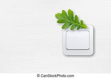 セービング, エネルギー, 概念, -, スイッチ, 白, 壁, ∥で∥, 緑, オーク葉
