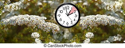 セービング, 冬, 時計, 壁, 日光, dst., time., 行く