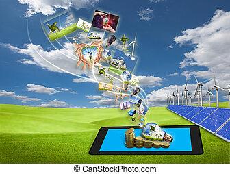 セービング, 流れ, タブレットの pc, エネルギー, 細胞, フィールド, 太陽, イメージ, タービン, 風