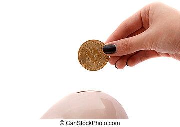 セービング, bitcoins, 銀行, 小豚