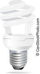 セービング, bulb., vector., ライト, エネルギー