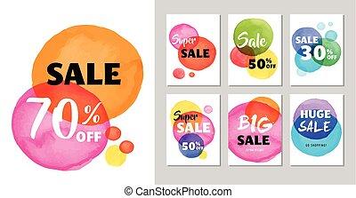 セール, アイコン, タグ, ラベル, そして, モビール, theme., クリスマス, セール, カラフルである, 水彩画, ベクトル, 背景, ポスター, デザイン