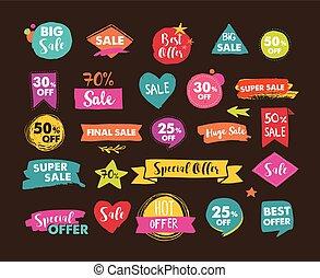 セール, アイコン, タグ, ラベル, そして, モビール, theme., 手, 引かれる, セール, カラフルである, ベクトル, 背景, ポスター, デザイン