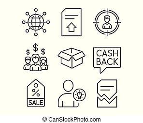 セール, クーポン, headhunting, そして, お金, 移動, icons., ユーザー, 考え, 給料, 従業員, そして, インターナショナル, 地球, signs.