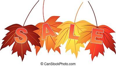 セール, テキスト, 上に, 秋の色, カエデ休暇