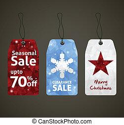 セール, デザイン, クリスマス, タグ