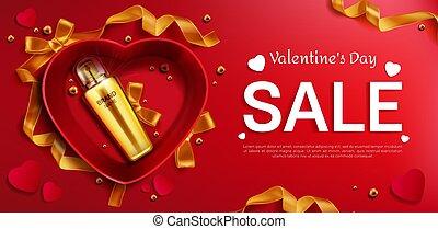 セール, バレンタイン, 旗, 日, 化粧品, s, びん