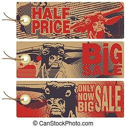 セール, 怒る, tags., 割引, bull.