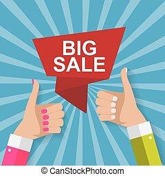 セール, 概念, の, discount., ベクトル, イラスト