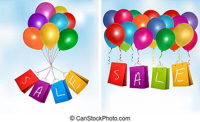 セール, 買い物, bags., 概念, の, discount., ベクトル, illustration.