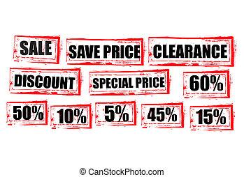 セール, 赤, タグ, クリアランス, 買い物