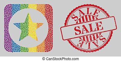 セール, lgbt, グランジ, 星, 型板, 切手, モザイク, シール, 円形にされる