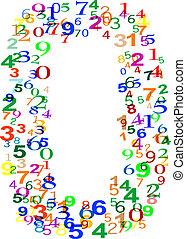 ゼロ, 作られた, 数, カラフルである, 数
