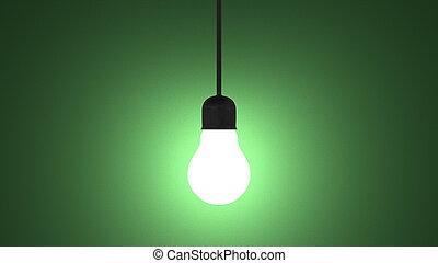 ソケット, ライト, ランプ, 白熱, 緑, 掛かること, 電球
