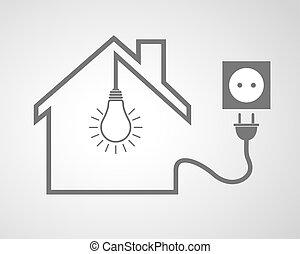 ソケット, 家, -, イラスト, ベクトル, 黒い ライト, 電球