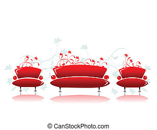 ソファー, そして, 肘掛け椅子, 赤, デザイン