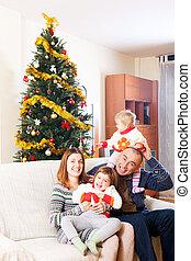 ソファー, クリスマス, 家族