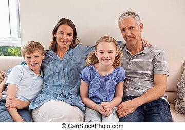 ソファー, モデル, 家族, 幸せ